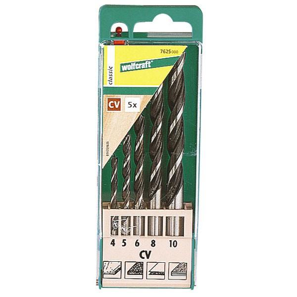 Wolfcraft Forets à bois CV :. Ø 4,0-5,0-6,0-8,0-10,0 en coffret plastique