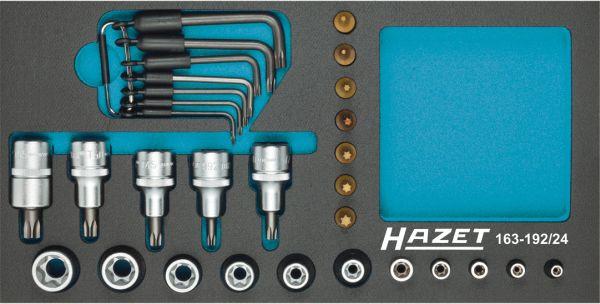 Hazet Jeu de clés à douilles TORX - Carré creux 12,5 mm (1/2 pouce), Carré creux 6,3 mm (1/4 pouce) - Profil TORX extérieur, Profil TORX intérieur - Nombre d'outils: 24 - 163-192/24