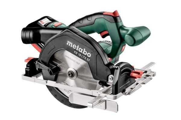 Metabo KS 18 LTX 57 Akku-Handkreissäge, 2x18V/8Ah LiHD, Ladegerät ASC 30-36 V, MetaLoc - 601857810