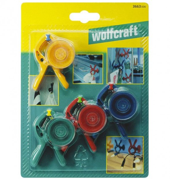 Wolfcraft Veerklem met zuignap microfix per 3 stuks - 3663000