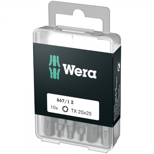 Wera 867/1 Embouts TORX Z DIY, TX 20 x 25 mm (10 Bits pro Box) - 05072408001