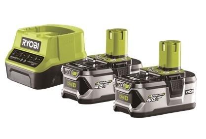 Ryobi 2 x 18 V (4,0 Ah) Lithium+ Batteria + Caricabatterie rapido - RC18120-240