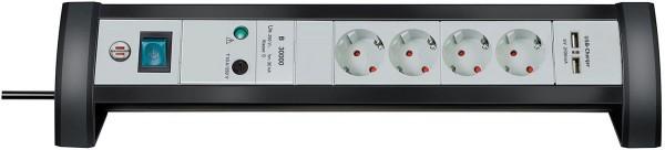 Brennenstuhl Premium-Office-Line 30.000A Überspannungsschutz-Steckdosenleiste mit USB-Ladefunktion 4-fach 1,8m H05VV-F 3G1,5