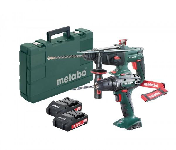 Metabo BS 18 Akku Bohrschrauber + KHA 18 LTX Akku Kombihammer inkl. 2 Li-Power Akkupacks 18 V/2,0 Ah