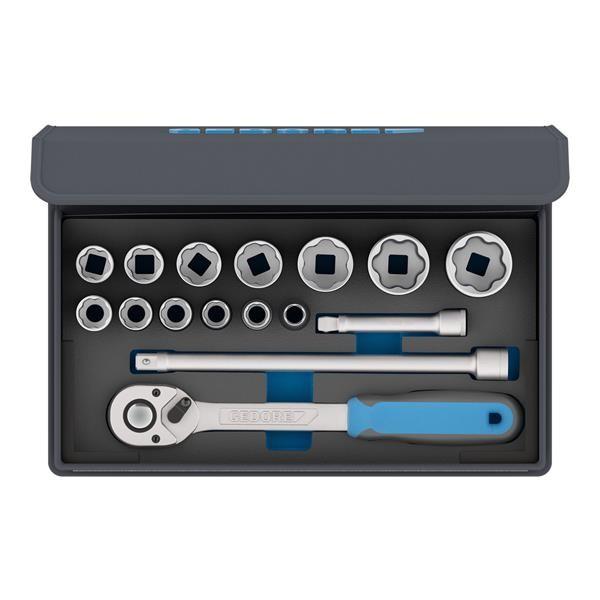 """Gedore Serie di chiavi a bussola 1/2"""" in borsa in tessuto, 15 pezzi TC 19-MU-10 - 3085023"""