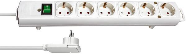 Brennenstuhl Comfort-Line Plus Steckdosenleiste mit Flachstecker 6-fach weiss 2m H05VV-F 3G1,5