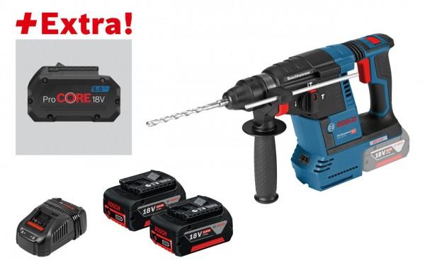 Bosch Professional Akku-Bohrhammer mit SDS-plus GBH 18V-26 F, 2 x 5,0 Ah, ProCORE18V 8,0 Ah, L-BOXX - 0615990K7Z