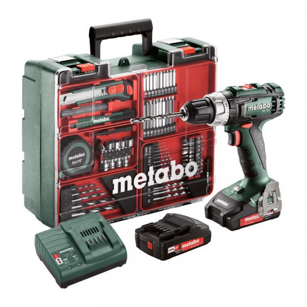 Metabo Perceuse-visseuse sans fil BS 18 L Set 18V 2x2Ah Li-Ion, Chargeur SC 30, Coffret, Atelier mobile - 602321870