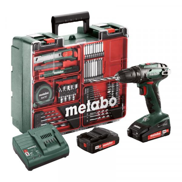 Metabo Perceuse-visseuse sans fil BS 18 set 18V 2x2Ah Li-Ion, Chargeur SC 30, Coffret, Atelier mobile - 602207880