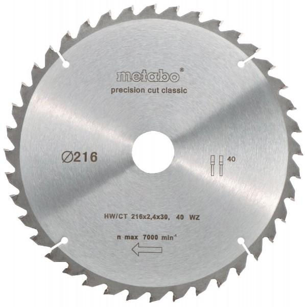 "Metabo Kreissägeblatt HW/CT 216 x 30 x 2,4/1,8, Zähnezahl 40, Wechselzahn, Spanwinkel 5° neg., ""Precision cut classic"""