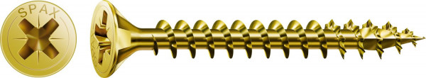 Spax Universalschraube, 4 x 40 mm, 200 Stück, Vollgewinde, Senkkopf, Kreuzschlitz Z2, 4CUT, YELLOX - 1081020400403