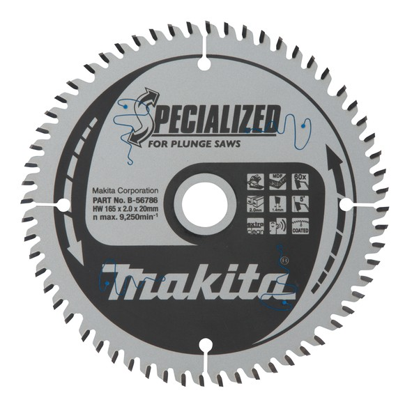 Makita Specialized Zaagblad, 165x20x60T - B-56786