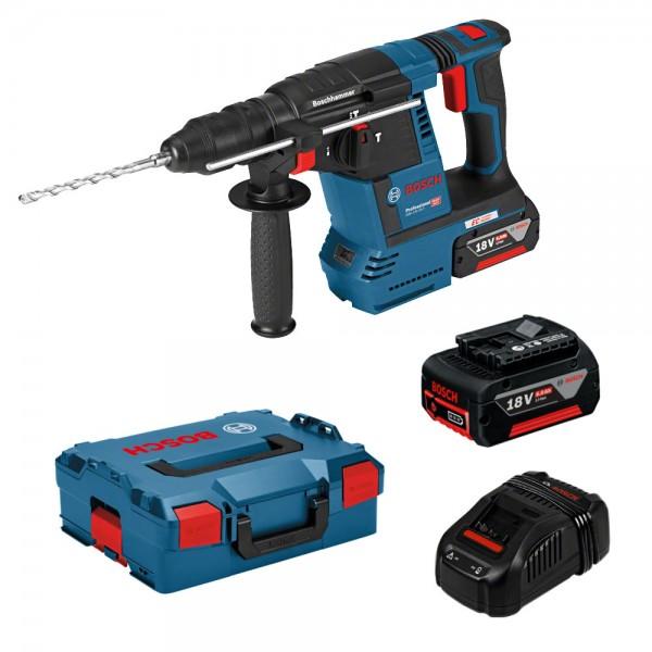 Bosch Professional Akku-Schlagbohrhammer GBH 18 V-26 F, mit 2 x 6,0 Ah Li-Ion Akku, L-BOXX
