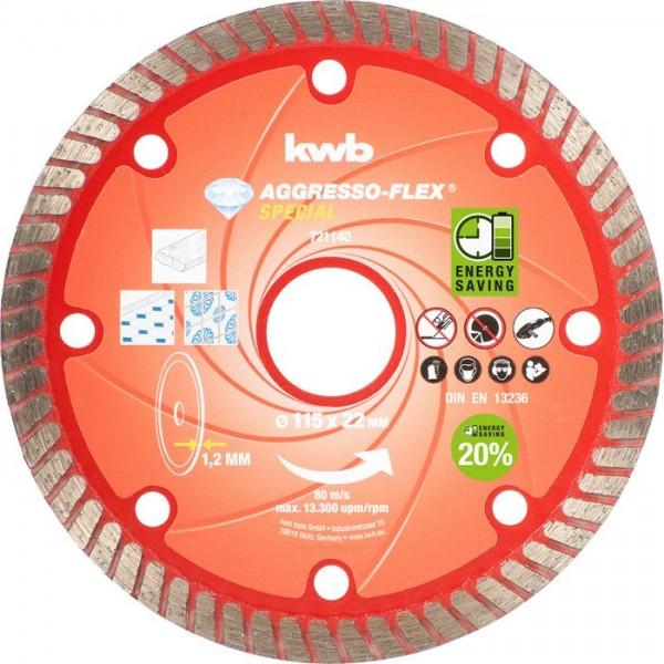 KWB AGGRESSO-FLEX® -diamantdoorslijpschijven, ø 115 mm - 721140