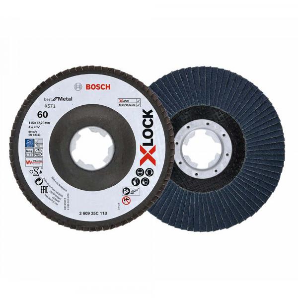 Bosch Plateau à lamelles Bosch Professional, Ø115mm, K 60, X571, Best for Metal, 1Stück - 260925C113