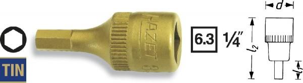 Hazet Schraubendreher-Steckschlüsseleinsatz - Vierkant hohl 6,3 mm (1/4 Zoll) - Innen-Sechskant Profil - Schlüsselweite: 8 - Gesamtlänge: 28 mm - 8501-8