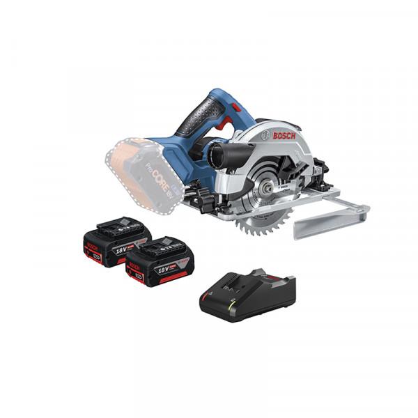 Bosch Professional Akku-Kreissäge GKS 18V-57 G, mit 2 x 4.0 Ah Li-Ion Akku, L-BOXX - 06016A2106