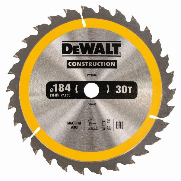 DeWALT Lama per seghe circolari portatili, 184/16 mm, 30 denti - DT1940-QZ