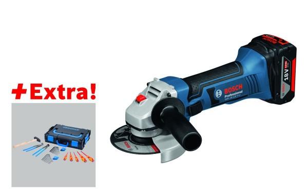 Bosch Professional Haakse accuslijpmachines GWS 18-125 V-LI, con 2 x 5,0 Ah Li-Ion, L-BOXX, Gedore-BOXX - 0615990J7L