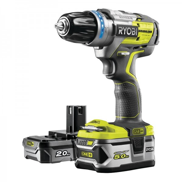 Ryobi Trapano a Percussione Brushless 18V (1x5,0Ah + 1x2,0Ah) - R18PDBL-252S