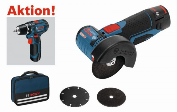Bosch Professional Haakse accuslijpmachine GWS 10,8-76 V-EC / GWS 12V-76, met GSR 10,8-2-LI/GSR 12V-15 - 0615990H5F