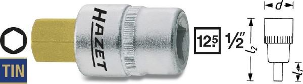 Hazet Schraubendreher-Steckschlüsseleinsatz - Vierkant hohl 12,5 mm (1/2 Zoll) - Innen-Sechskant Profil - Schlüsselweite: 12 - Gesamtlänge: 60 mm - 986-12