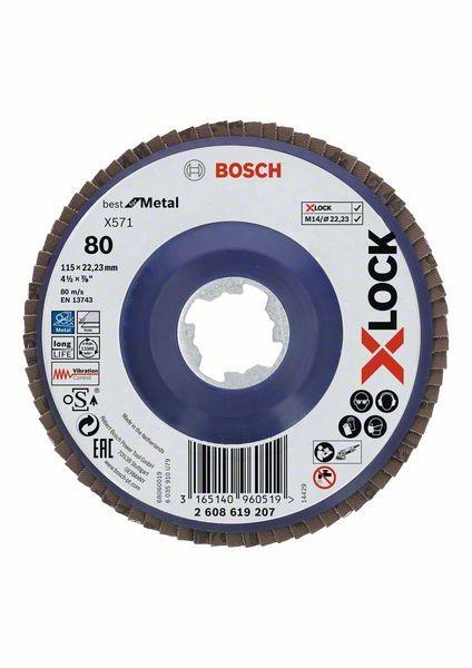 Bosch Dischi lamellari X-LOCK, versione dritta, piastra in plastica Ø115 mm, G 80, X571, Best for Metal, 1 pz. - 2608619207