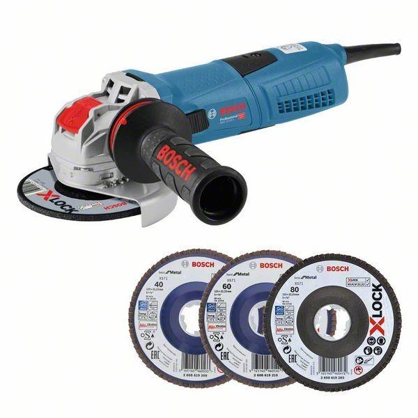 Bosch Professional Winkelschleifer GWX 13-125 S, 3 X-LOCK-Fächerschleifscheiben in Handwerkerkoffer - 0615990L0U