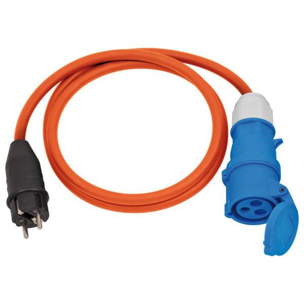 Brennenstuhl Camping-Adapterkabel mit Schutzkontakt-Stecker und CEE-Kupplung 230V/16A, 1,5m, Kabel in orange - 1132910025