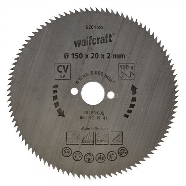 Wolfcraft Lame de scie circulaire CV, 90 dents, Ø 150 x 20 x 2