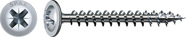Spax Universalschraube, 4,5 x 45 mm, 1000 Stück, Vollgewinde, Rückwandkopf, Kreuzschlitz Z2, 4CUT, WIROX - 0281010450452