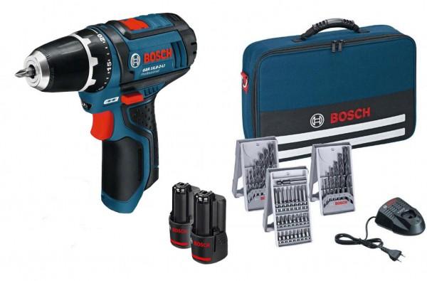 Bosch Perceuse Visseuse sans fil GSR 12V-15 + 2 batteries 2 Ah + chargeur + 39 accessoires+ sacoche