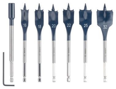 Bosch Set da 7 punte fresatrici piatte Self Cut Speed 16, 18, 20, 22, 25, 32 mm