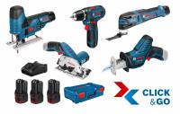 Bosch Professional 5 machine set 12V: GSR + GST + GOP + GKS + GSA + 3x GBA 3.0Ah + GAL + XL-BOXX - 0615A0017C