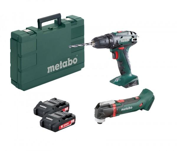 Metabo BS 18 Akku Bohrschrauber und MT 18 LTX Akku Multitool inkl. 2 Li-Power Akkupacks 18 V/2,0 Ah