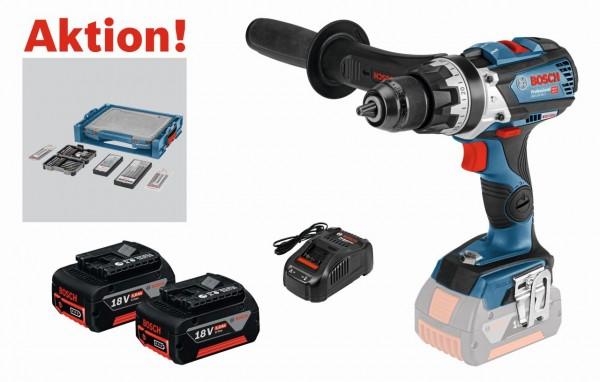 Bosch Perceuse-visseuse à percussion sans-fil GSB 18V-85 C + 2 batteries 5,0 Ah dans L-BOXX + set d'accessoires 68 pièces dans i-BOXX + i-Rack - 0615990K1S