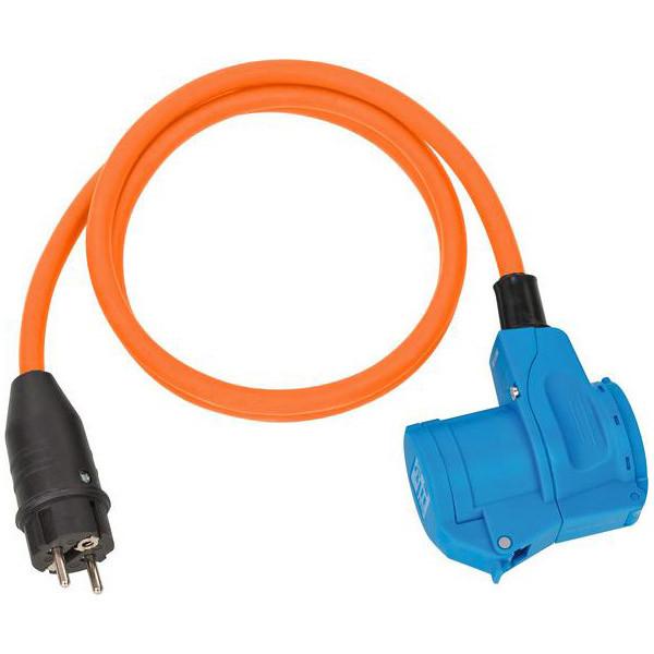 Brennenstuhl Camping-Adapterleitung mit Schutzkontakt-Stecker und CEE-Winkelkupplung 230V/16A, 1,5m Kabel in orange - 1132910525
