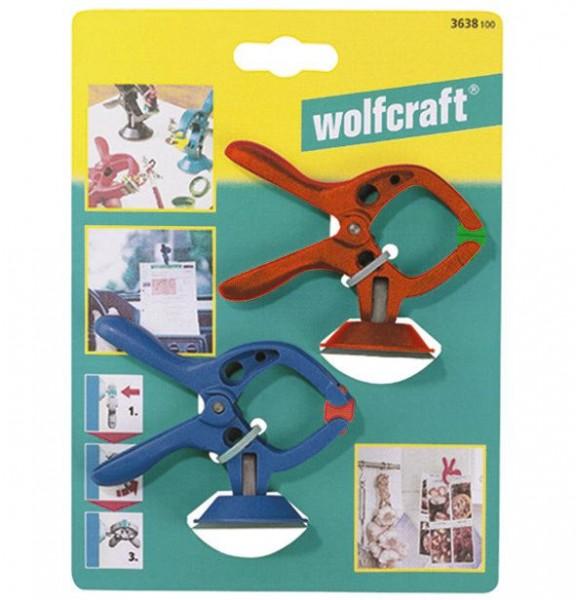 Wolfcraft 2 microfix - pinzas con resorte, con ventosa, 30 mm - 3638100