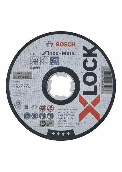 Bosch Disque à tronçonner droits X-LOCK Expert for Inox+Metal 125x1x22,23mm AS 60 T INOX BF, 1,0 mm - 2608619264