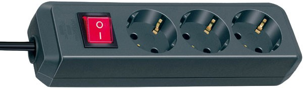 Brennenstuhl Steckdosenleiste Eco-Line mit Schalter 3-fach, schwarz 1,5 m