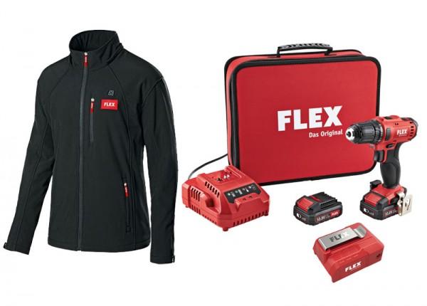 Flex Das Winter-Kombipaket - Akku-Heizjacke, größe XL + 2-Gang Akku-Bohrschrauber-Set - 462705
