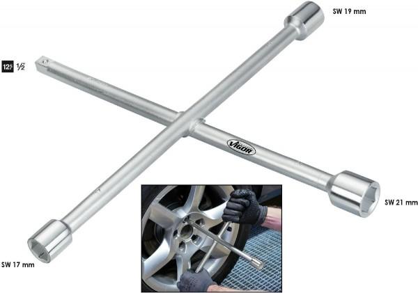 Vigor Clé en croix - Carré massif 12,5 mm (1/2 pouce) - V4195